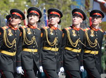 The pupils of the Tver Suvorov military school on dress rehearsal of parade on red square in honor of Victory Day. Stock Photos