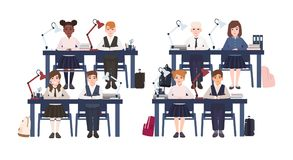 Pupils in uniform sitting at desks in classroom isolated on white background. Sad and smiling elementary school boys and stock illustration