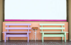Puple and green bench and white bord Royalty Free Stock Images