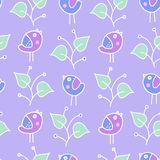 Puple pastel birdie kids pattern. Kids pattern with birdies and leaves. Vector Stock Photo