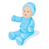Puppe in der blauen Kleidung stock abbildung