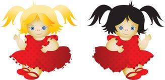 Puppe in einem roten Kleid Stockfotos