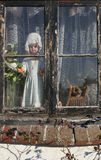 Puppe im Fenster Stockfotografie