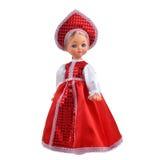 Puppe im roten Kleid Stockfoto