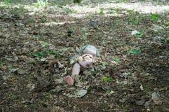 Puppe vor verlassenem Kindergarten in Tschornobyl Stockfotos