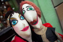 Puppen auf der Bank Lizenzfreies Stockbild