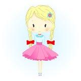 Puppen-Vektor-Illustration Schöne goldene Haar-Marionette mit roten Bögen Kleine Ballerina Lizenzfreie Stockfotografie