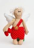 Puppenengel mit seinen Händen auf weißem Hintergrund Stockfoto