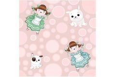 Puppenhausmädchen und lustige Welpen auf einem hellen bunten Hintergrund lizenzfreie abbildung