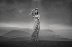 Puppet. Lady Puppet, young girl standing on a hill Royalty Free Stock Photography