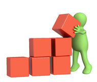 Puppet with boxes. 3d puppet, installing boxes of red color Stock Photography