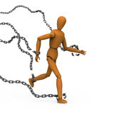 Puppet broke chains to freedom. 3D model of puppet conquer chains binding by breaking and running to freedom Stock Photo