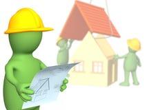 Puppet - builder, considering the design plan stock illustration