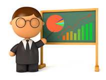 Puppet businessman standing at board Royalty Free Stock Image
