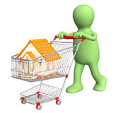 Puppet - buyer, bought the house. 3d puppet - buyer, bought the house. Isolated over white stock illustration