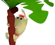 Puppet clims on high palm after coconut Royalty Free Stock Image