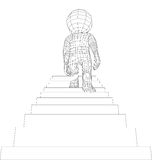 Puppet 3d man walking stairs Stock Photo