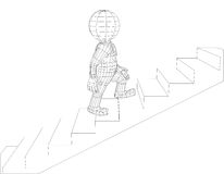 Puppet 3d man walking stairs Stock Photography