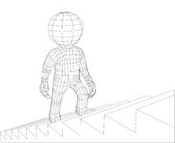 Puppet 3d man walking stairs Stock Image