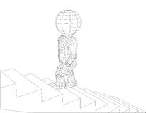 Puppet 3d man walking stairs Royalty Free Stock Photo