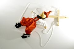 Puppet dummy Pinocchio. Close-up with white background Royalty Free Stock Image