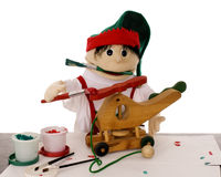 Puppet Elf in Santa's Workshop Stock Image