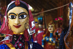 Puppet face. Puppets in a market in Rajasthan Royalty Free Stock Image