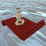 Puppet on a flying carpet Stock Images