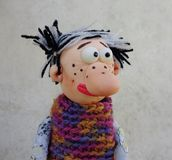 Puppet gentleman. Cold porcelain clay sculpted puppet Royalty Free Stock Photo