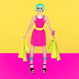 Puppet girl, Crazy Shopping Stock Photo