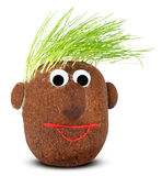 Puppet with ground wheat sprouts for hair. Royalty Free Stock Photos