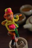 Puppet handcraft. Monkey toy handcraft bread clay Royalty Free Stock Image
