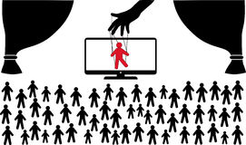 Puppet in hands of mass media. Government lies. Deception mass media. TV weapons of mass deception. Many people puppet. Puppet in hands of mass media stock illustration