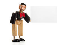 Puppet holding a blank greetings card, Royalty Free Stock Images
