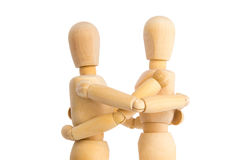 Puppet hugs another puppet Stock Photo