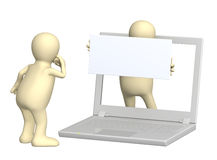Puppet with information board. 3d puppet with information board and laptop Stock Photo