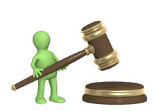 Puppet with judicial gavel Stock Photography