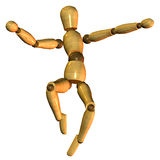 Puppet while jumping. 3D rendering of a jumping puppet Stock Photo