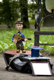 Puppet Musician. In the Park Royalty Free Stock Photo