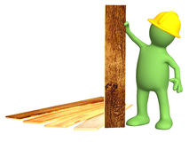 Puppet with new parquet planks. Isolated over white Royalty Free Stock Photos