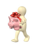 Puppet with piggy bank Royalty Free Stock Photography