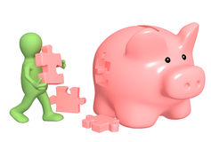Puppet, piggy bank and puzzles Royalty Free Stock Photos