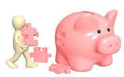 Puppet, piggy bank and puzzles Royalty Free Stock Images
