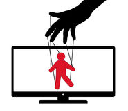 Puppet play TV puppet. Puppet theater audience deception. Vector illustration Stock Photography