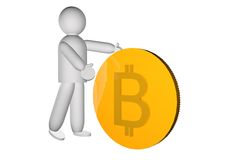Puppet pushing a big golden bitcoin Royalty Free Stock Images