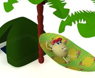 Puppet resting near green tent under palm Stock Photography