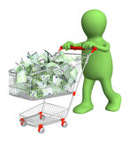 Puppet with shopping cart and euro Stock Photos