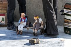 Puppet show in Barcelona. Puppet show performance on streets of Barcelona, Spain Stock Images