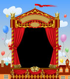 Puppet show booth with theater masks, red curtain, illuminated s. Ignboards width city view and colorful balloons in the sky. Artistic and theatrical poster and Stock Photography