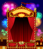 Puppet show booth with theater masks, red curtain, illuminated s. Ignboards width night city view and fireworks in the sky. Artistic and theatrical poster and Stock Photography